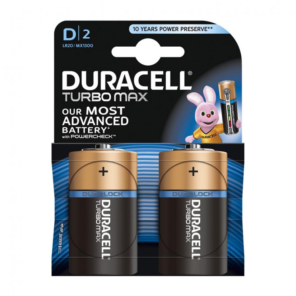 Алкалиновая батарейка Бочонок DURACELL D 1.5V TURBO MAX